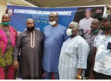 Ize-Iyamu with representatives of the Believers' Forum Photo