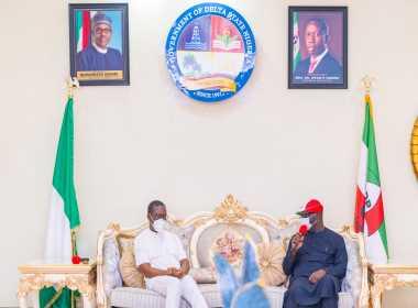 Godwin Obaseki visit to Ifeanyi Arthur Okowa photo