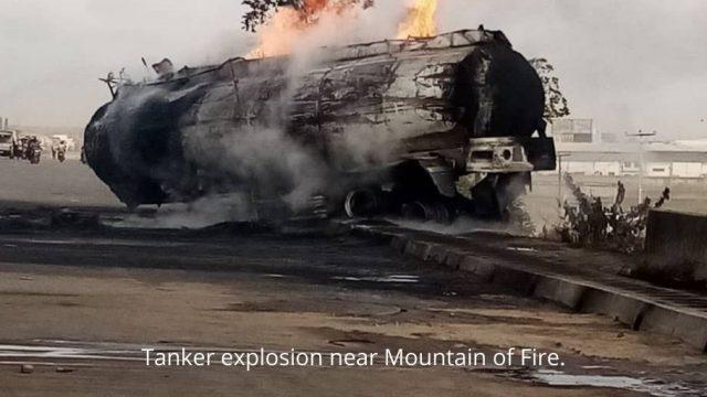 Tanker explosion near Mountain of Fire. Photo