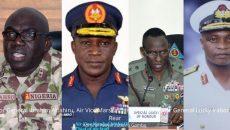 Major General Ibrahim Attahiru, Air Vice Marshall Isiaka Amao,Major General Lucky Irabor and Rear Admiral Awwal Zubairu Gambo Photo
