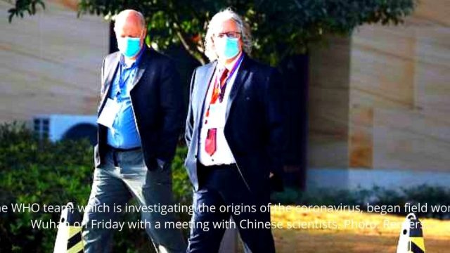 The WHO team, which is investigating the origins of the coronavirus, began field work in Wuhan on Friday with a meeting with Chinese scientists. Photo Reuters.
