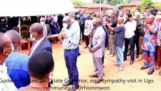 Godwin Obaseki Edo State Governor, on a sympathy visit in Ugo community in Orhionmwon Photo